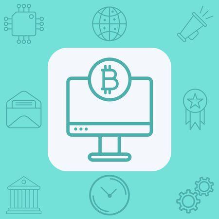 Money on monitor icon vector, filled flat sign, solid pictogram isolated on white. Symbol, logo illustration. Ilustrace