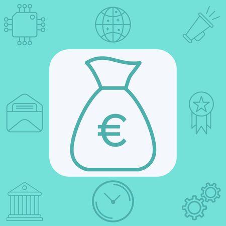 Money bag icon vector, filled flat sign, solid pictogram isolated on white. Symbol, logo illustration. Çizim
