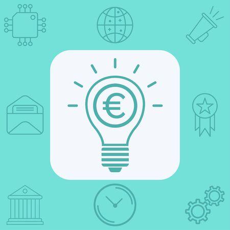 Money light bulb icon vector, filled flat sign, solid pictogram isolated on white. Symbol, logo illustration.