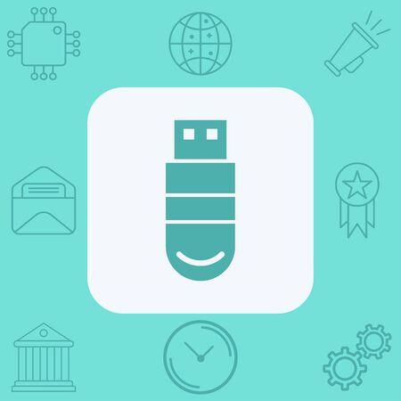 Pen drive icon vector, filled flat sign, solid pictogram isolated on white. Symbol, logo illustration. Vectores