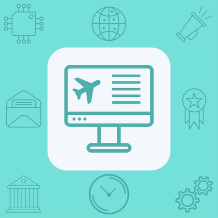 Online flight booking icon vector, filled flat sign, solid pictogram isolated on white. Symbol, logo illustration.
