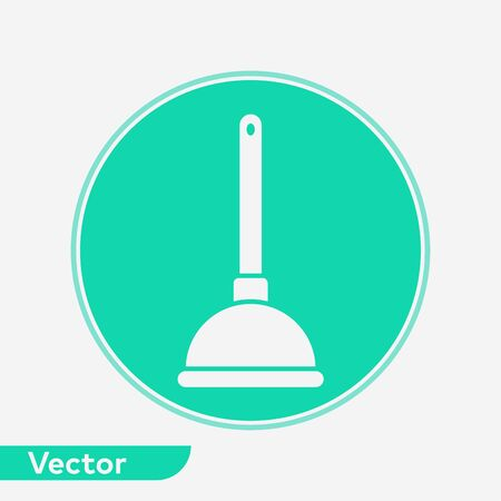 Plunger icon vector, filled flat sign, solid pictogram isolated on white. Symbol, logo illustration. Stock Illustratie