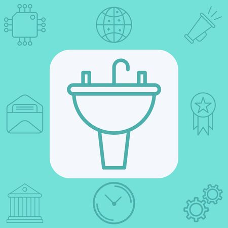 Sink icon vector, filled flat sign, solid pictogram isolated on white. Symbol, logo illustration.