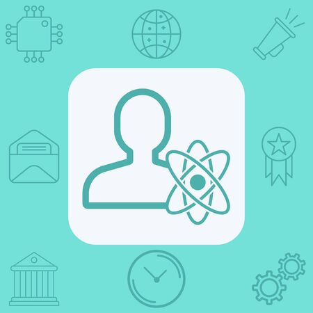 Scientist icon vector, filled flat sign, solid pictogram isolated on white. Symbol, logo illustration. Çizim