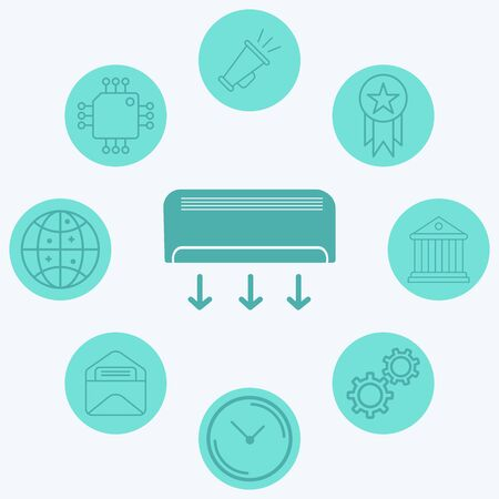 Air conditioner icon vector, filled flat sign, solid pictogram isolated on white. Symbol, logo illustration.