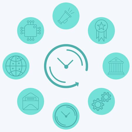 Back arrow clock icon vector, filled flat sign, solid pictogram isolated on white. Symbol, logo illustration.