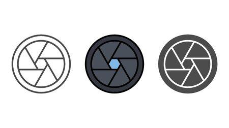 Camera shutter icon vector, filled flat sign, solid pictogram isolated on white. Symbol, logo illustration. Illustration