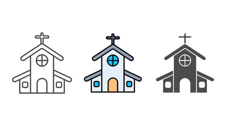 Church icon vector, filled flat sign, solid pictogram isolated on white. Symbol, logo illustration.