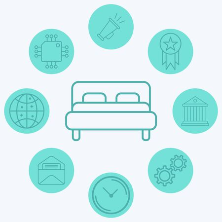Bed icon vector, filled flat sign, solid pictogram isolated on white. Symbol, logo illustration.