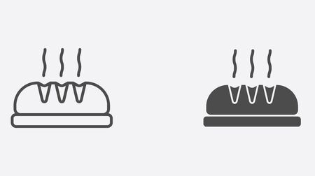 Bread icon vector, filled flat sign, solid pictogram isolated on white. Symbol, logo illustration.