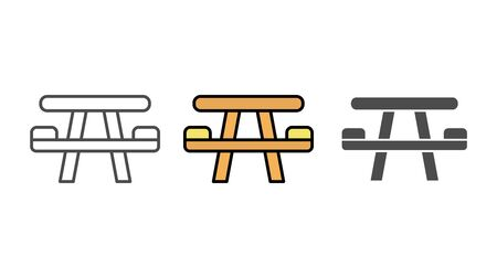 Camping table icon vector, filled flat sign, solid pictogram isolated on white. Symbol, logo illustration.