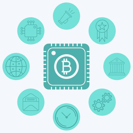 Bitcoin cpu icon vector, filled flat sign, solid pictogram isolated on white. Symbol, logo illustration. 일러스트