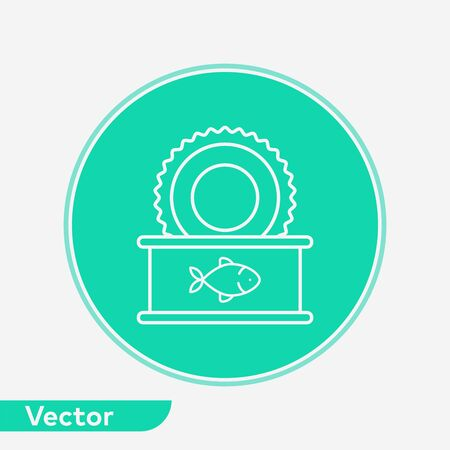 Canned fish icon vector, filled flat sign, solid pictogram isolated on white. Symbol, logo illustration.