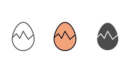 Broken egg icon vector, filled flat sign, solid pictogram isolated on white. Symbol, logo illustration.