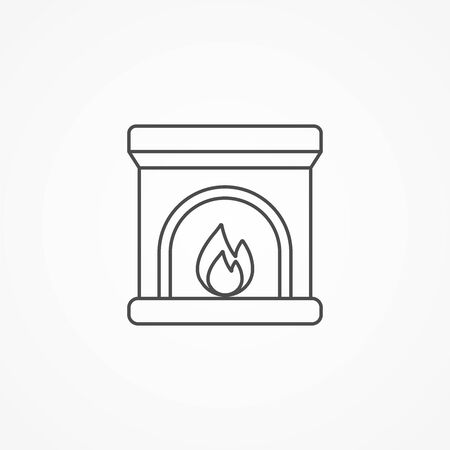 Fireplace icon vector, filled flat sign, solid pictogram isolated on white. Symbol, logo illustration.