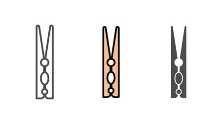 Clothespins icon vector, filled flat sign, solid pictogram isolated on white. Symbol, logo illustration. Ilustrace