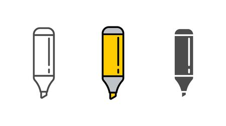 Highlighter icon vector, filled flat sign, solid pictogram isolated on white. Symbol, logo illustration.