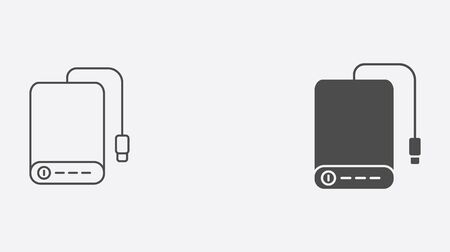 Power bank icon vector, filled flat sign, solid pictogram isolated on white. Symbol, logo illustration.