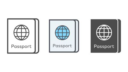 Passport icon vector, filled flat sign, solid pictogram isolated on white. Symbol, logo illustration. Stock Illustratie