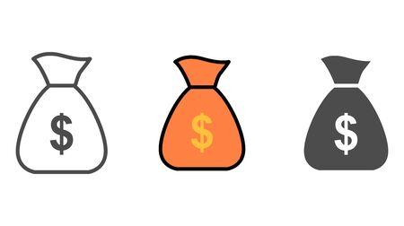 Money bag icon vector, filled flat sign, solid pictogram isolated on white. Symbol, logo illustration. Illustration