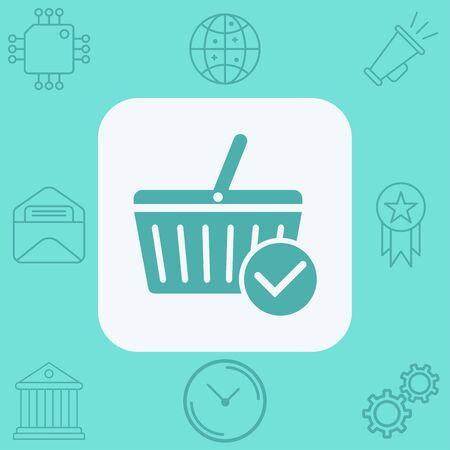 Shopping basket icon vector, filled flat sign, solid pictogram isolated on white. Symbol, logo illustration.