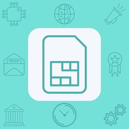 Sim card icon vector, filled flat sign, solid pictogram isolated on white. Symbol, logo illustration. Çizim