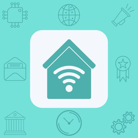 Smart home icon vector, filled flat sign, solid pictogram isolated on white. Symbol, logo illustration. Çizim