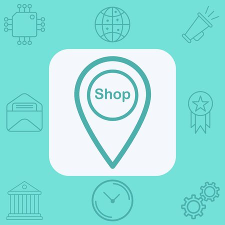 Shop location pin icon vector, filled flat sign, solid pictogram isolated on white. Symbol, logo illustration.