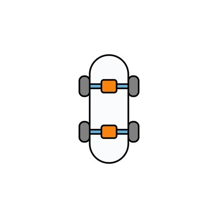Skateboard icon vector, filled flat sign, solid pictogram isolated on white. Symbol, logo illustration.  イラスト・ベクター素材