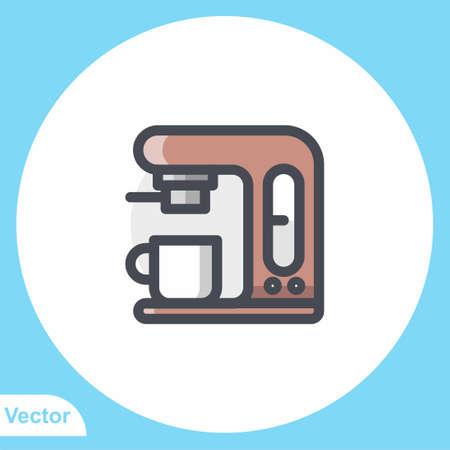 Coffee machine flat vector icon sign symbol Ilustracja