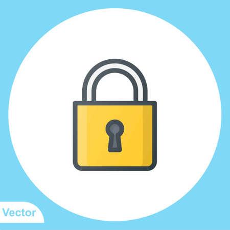 Padlock flat vector icon sign symbol Stock Illustratie