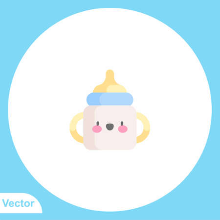 Baby bottle vector icon sign symbol