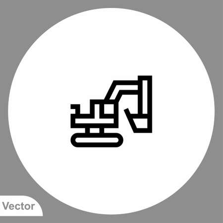 Excavator icon sign vector, Symbol, illustration for web and mobile Stock Illustratie