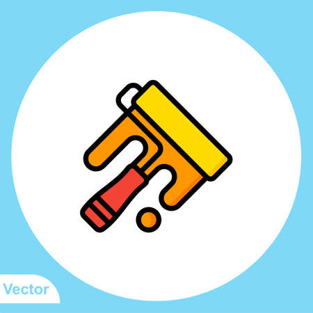 Paint roller vector icon sign symbol