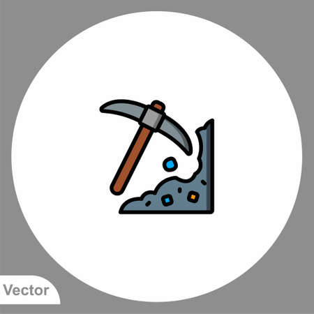 Pickaxe icon sign vector, Symbol, illustration for web and mobile