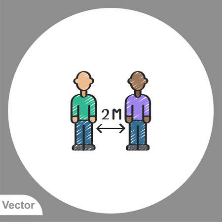 Keep distance icon sign vector, Symbol, logo illustration for web and mobile  イラスト・ベクター素材