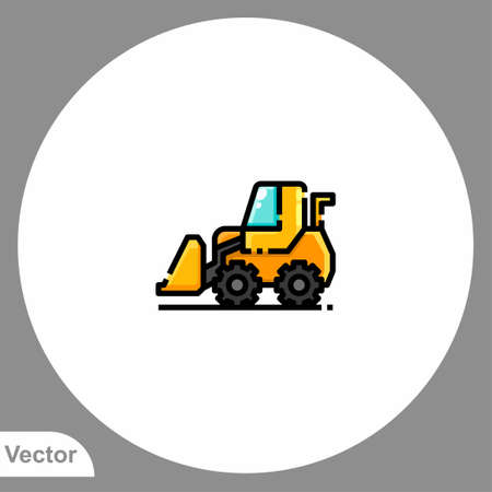 Bulldozer icon sign vector, Symbol, logo illustration for web and mobile Stock Illustratie