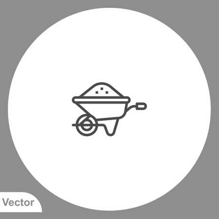 Wheelbarrow icon sign vector, Symbol, logo illustration for web and mobile Stock Illustratie
