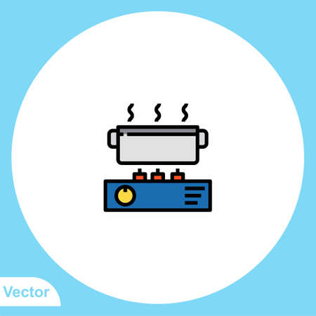 Gas stove flat vector icon sign symbol  イラスト・ベクター素材