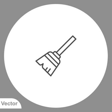 Broom icon sign vector, Symbol illustration for web and mobile
