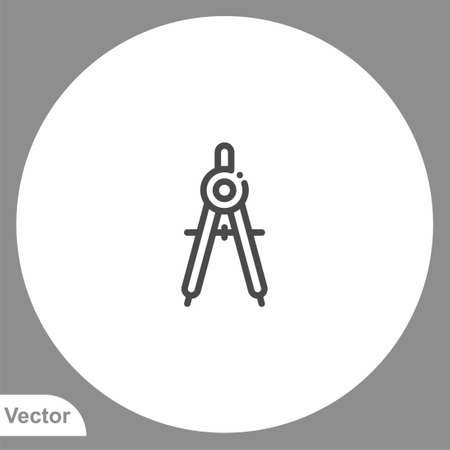 Drawing compass icon sign vector, Symbol illustration for web and mobile