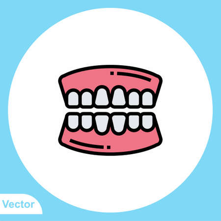 Tooth flat vector icon sign symbol