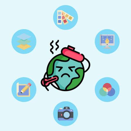 Global warming vector icon sign symbol 일러스트