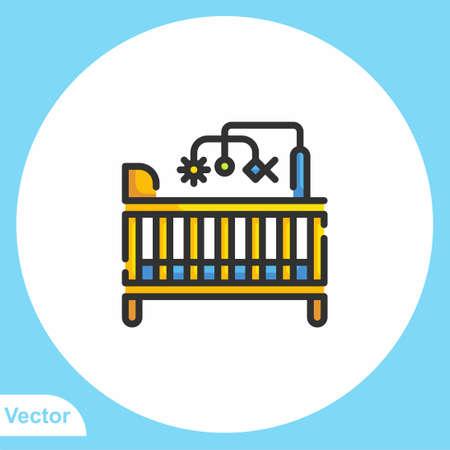 Baby crib vector icon sign symbol 일러스트