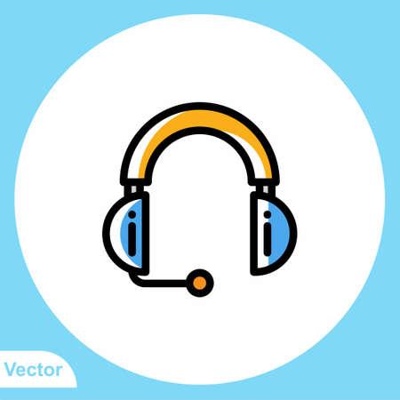 Headset flat vector icon sign symbol Ilustracja