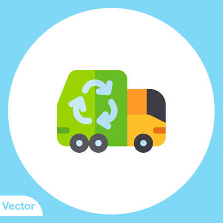 Garbage truck flat vector icon sign symbol