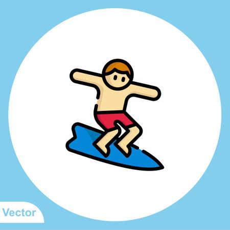 Surfing vector icon sign symbol Vectores