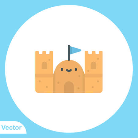 Sand castle vector icon sign symbol Vectores