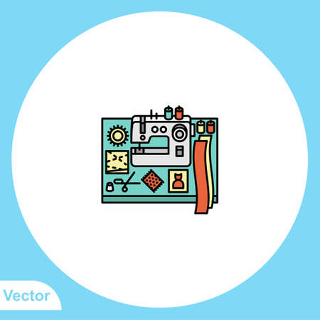 Sewing machine flat vector icon sign symbol 向量圖像