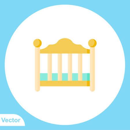 Baby crib vector icon sign symbol 向量圖像